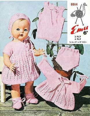 VINTAGE KNITTING PATTERN COPY- BABY DOLL OUTFIT  - FIT REBORN & PREM BABY-1960's