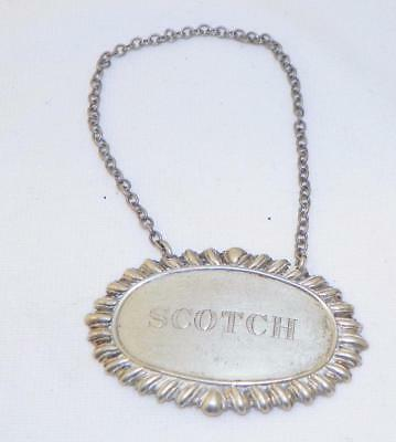Vintage~Sterling Silver~Scotch Liquor Decanter Bottle Label Tag