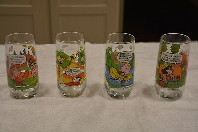 Camp Snoopy Collection McDonald's Vintage Set Of 4 Glasses Charlie, Linus, Lucy