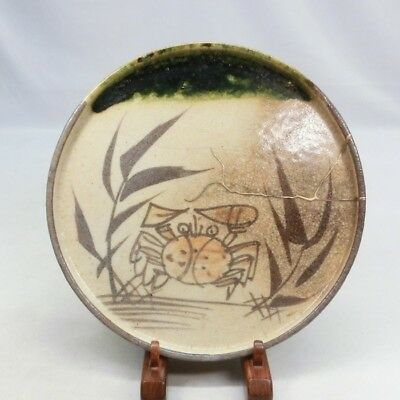 D718: Japanese old ORIBE pottery plate with Popular ANDON-ZARA w/Crab painting