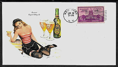 1948 Ballantine's Ale & Sexy Girl Featured on Collector's Envelope *A433