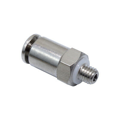 4mm OD * M5  Pneumatic Push Fitting Male Straight Connector Nickel Plated
