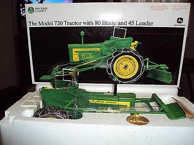 John Deere 720 Precision #18 Farm Toy Tractor with Blade & Loader - NEW IN BOX