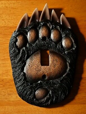 Black Bear Paw Single Toggle Light Switch Plate Cover Switchplate Cabin Decor
