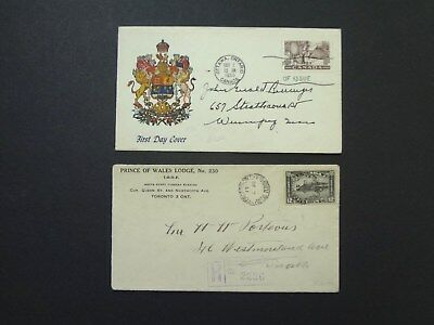 Canada, 2 Canadian Covers, Envelops. FDC from 1950; Advertising from 1931.Regist