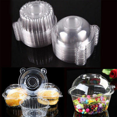 10-100X Plastic Cupcake Muffin Single Cup Cake Holders Boxes Pods Domes Cases HC