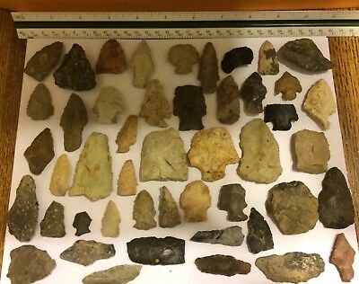 47 Piece Native American Artifact Collection New Castle, Pa Indian Arrowheads