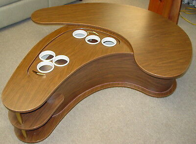 MCM Grand Server Kidney Shaped Boomerang Coffee Table Cocktail Bar by AH Stock
