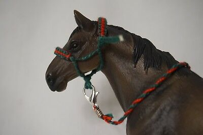 Handmade Schleich Horse Padded Rope Halter with Lead- Green & Red (Christmas)