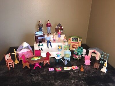 Huge Fisher Price Loving Family 38 pc Doll Furniture Lot Baby Crib Mom Dad Kids