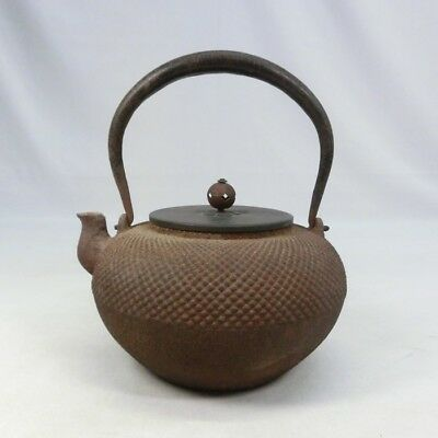 D822: Japanese iron kettle TETSUBIN with good taste and popular ARARE pattern