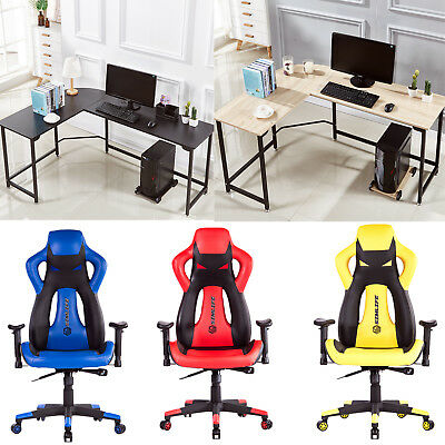 High Back Racing Car Style Office Gaming Chair or L-Shape Corner Computer Desk