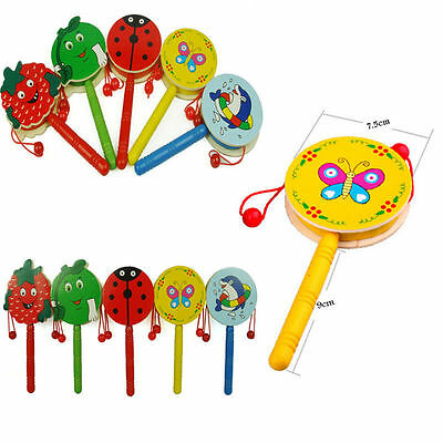 Cartoon Animal Hand Bell Wooden Rattle Drum  Musical Instrument Toys Aa