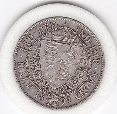 Very  Sharp  1899   Queen  Victoria  Half  Crown (2/6d) - Sterling  Silver Coin