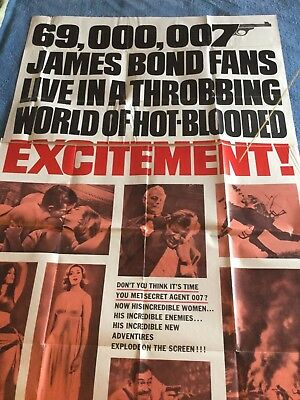 "Vintage Original 1963 James Bond ""from Russia With Love""..very Rare ""3"" Sheet Mo"