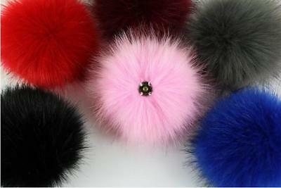 1pc Large Faux Raccoon Fur Pom Pom Ball with Press Button for Knitting Hat DIY