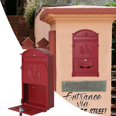 Vintage Retro Cast Wall Mount Door Mailbox Letter Safe Box Locking with 2pcs Key