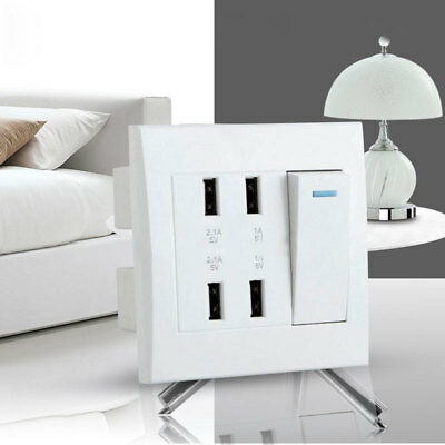 Professional 10A 4 Ports USB Socket Intelligent Charger Plate Panel Tool