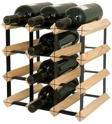 12 Bottle Timber Wine Rack - Pine and Steel - Home Wine Storage