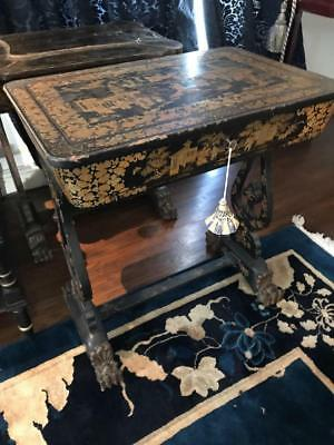 Antique Asian lidded sewing table black lacquer and highly decorated i... Lot 29