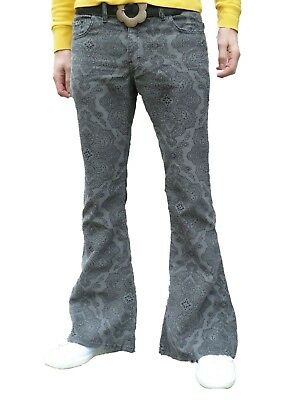 FLARES Grey Paisley Mens Bell Bottoms Corduroy Pants vtg Hippie trousers 60's
