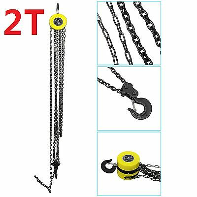 Heavy Duty 2 Ton Chain Hoist Load Lifting Block Tackle Engine Winch Pulley Tool