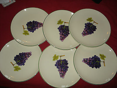 6 Prinknash Abbey Pottery Hampton Court Black Hamburgh Grape 25cm Dinner Plates