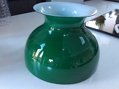 A Vintage Deep Green Student Oil Lamp Shade