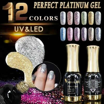 VENLISA 12 Colors 12ml Platinum Gel Super Shining Glitter Sequins UV Nail
