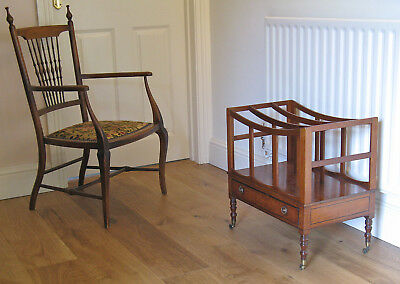 Regency Mahogany Canterbury or Magazine Rack on Ring-Turned Legs & Brass Casters