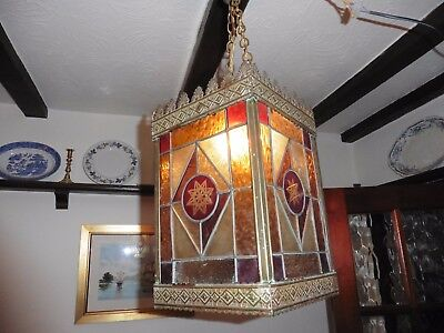 Vintage Leaded Glass Hall Lantern