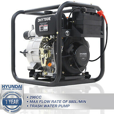 "Hyundai Diesel Trash & Dirty Water Pump 3"" Electric Start For Flooding DHYT80E"