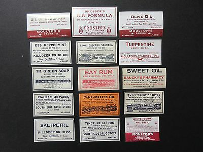 15-Old Pharmacy Drugstore-Apothecary-Medicine Bottle Old Label Lot-Vintage=
