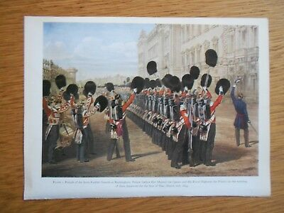 Vintage Military Print- Parade Of Scots Fusilier Guards Buckingham Palace 1854