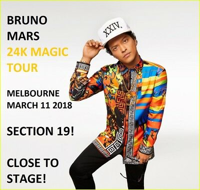 Bruno Mars Melbourne Mar 11 - Section 19 Close To Stage! Incredible Seats!
