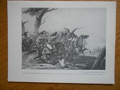 Vintage Military Print-King's Dragoon Guards Attacking French Cavalry 1815