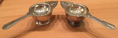 Lot of 2 Vintage Silverplate Tea Strainers with base - Matching Set