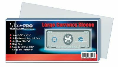 100 x Ultra PRO Large Money Currency Banknote Bill Ticket Sleeves 193 x 78mm