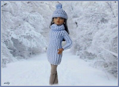 """Gorgeous Light Blue Handknit Sweater With Tiny Glitter,hat/legging  For """"16 Ooak"""