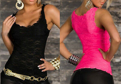 Sexy Women Solid Lace Perspective Sleeveless Slim Fit Top Tank Vest Camisole et
