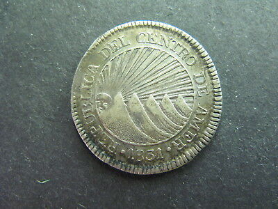 Central American Republic, 2 Reals Dated 1831 Toned, High Grade