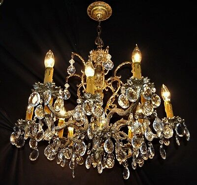 VTG DECO FRENCH CAST BRASS 12 LIGHTS CRYSTALS CHANDELIER CEILING FIXTURE 1950's