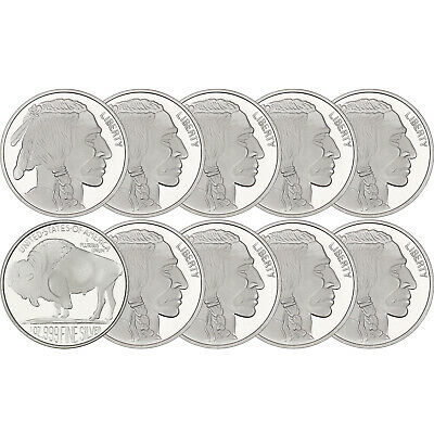 No Date Buffalo Medallion 1oz .999 Silver LOT OF 10