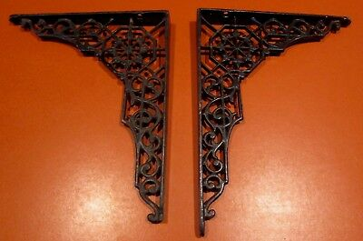 Vintage Antique Ornate Pair Cast Iron Shelf Brackets Very Old