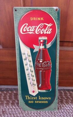"RARE 1944 COCA-COLA MASONITE THERMOMETER...""Thirst Knows No Season"""