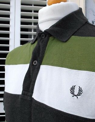 Fred Perry Grey Marl Cut & Sew Pique Polo - L/XL - Mod Ska Casuals Scooter Skins