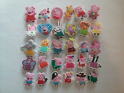 30 Piece Peppa Pig PVC Shoe Charms USA Shipping Party Favors Cupcake Toppers