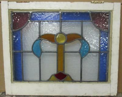 """MID SIZED OLD ENGLISH LEADED STAINED GLASS WINDOW Stunning Abstract 24"""" x 19.5"""""""