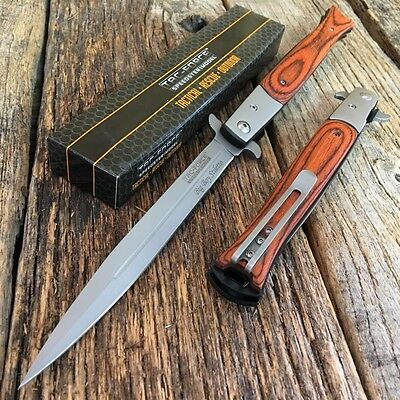 """TAC FORCE 13"""" Extra Large Spring Assisted Open STILETTO Pocket Knife WOOD -F"""
