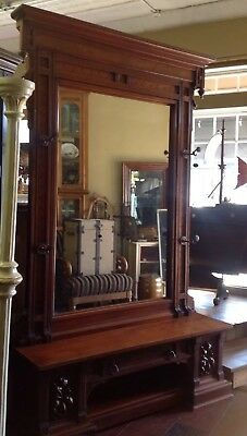 Large Victorian Hall Tree/ Foyer Mirror Walnut